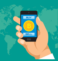 Digital currency bitcoin in smartphone application vector