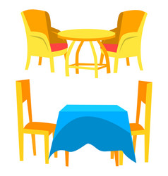 dining place chair and table restaurant vector image