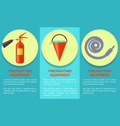 emergency equipment set for fire protection poster vector image