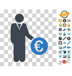 Euro investor icon with bonus vector
