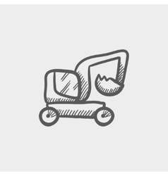 Excavator truck sketch icon vector