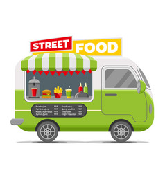 Fast street food caravan trailer vector