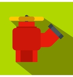 Fire hydrant with valve flat icon vector