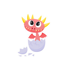 flat dragon baby hatching from egg vector image