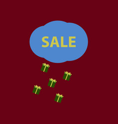 Flat icon of sale gift rain vector