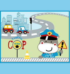 Funny traffic cop cartoon in city road vector