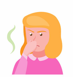 girl close her nose because air pollution vector image
