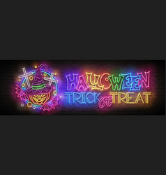 Glow halloween greeting card with witch pumpkin vector