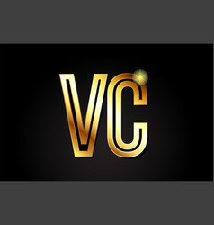 Gold alphabet letter vc v c logo combination icon vector