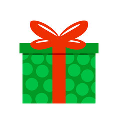 Green polkadot gift box vector