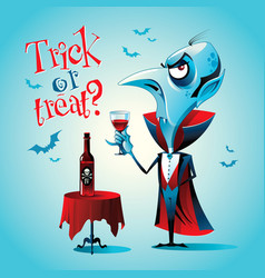 halloween vampire with a glass vector image