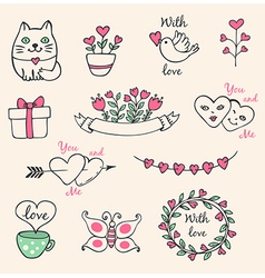 Hand drawn decorative Valentine elements vector image