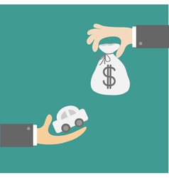 Hands with car and money bag Exchanging concept vector image