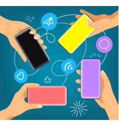 hands with modern smartphones social media vector image