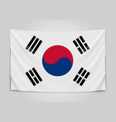 hanging flag of korea republic of korea national vector image