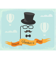 happy fathers day poster greetings in retro style vector image