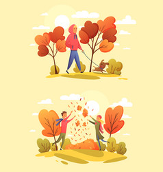 happy people in an autumn park trend colors vector image