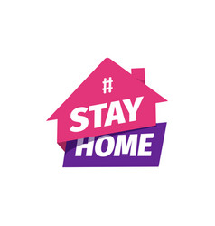 Hashtag stay at home icon self isolation vector