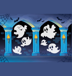 Haunted castle interior theme 8 vector