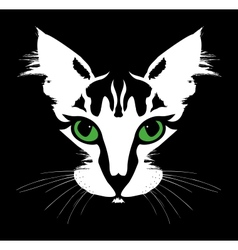 Head of a cat with green eyes vector image