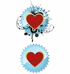 heart on badge vector image