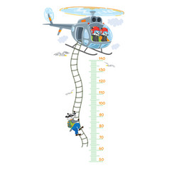 Helicopter with badgers meter wall or height chart vector
