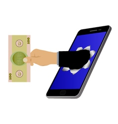 Hole on the screen and hand with banknote vector image