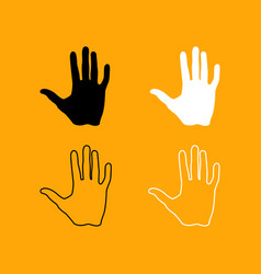 human hand black and white set icon vector image