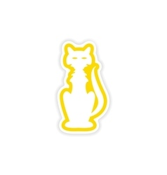 Icon sticker realistic design on paper cat vector