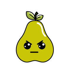 Kawaii cute angry pear fruit vector