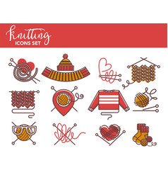 Knitting logo templates of knitted clothing or vector