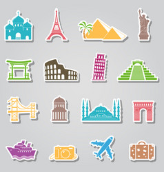 landmarks stickers on grey background vector image