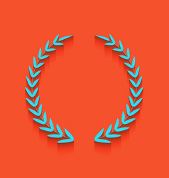 Laurel wreath sign whitish icon on brick vector