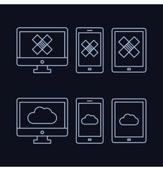 lines drawn icon set - computer monitor smart vector image