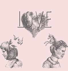 Love conceptual drawing vector