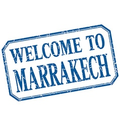 Marrakech - welcome blue vintage isolated label vector