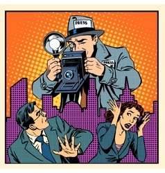 Media paparazzi terrorizing people vector image