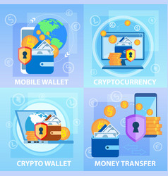 mobile crypto wallet cryptocurrency money transfer vector image