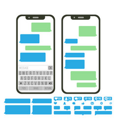 Mobile screen messaging chat bot bubbles vector