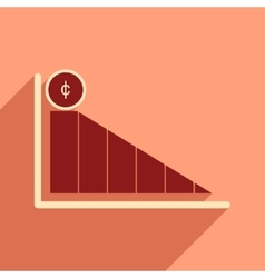 Modern flat icon with shadow economic graph vector image