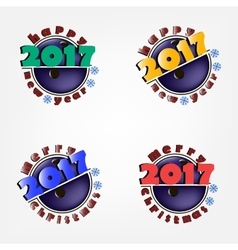 New year 2017 and bowling ball vector