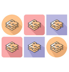 outlined icon of cheese cuts with parallel and vector image