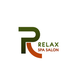 r letter icon for relax spa salon vector image