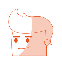 red silhouette image side view face cartoon man vector image