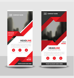 Red triangle business roll up banner flat design vector