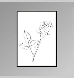 Rose poster for interior decor vector