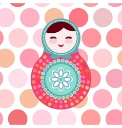 Russian dolls matryoshka on white background pink vector image