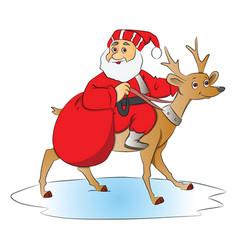 Santa claus riding a deer vector