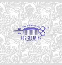 Seamless pattern and label dog grooming vector