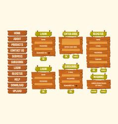 Set cartoon wooden signs vector